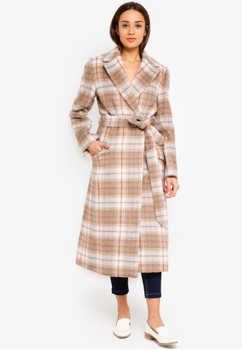 Jack Wills beige Blythe Long Checked Robe Coat 363C7AA9312DCAGS_1