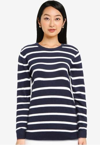 Button On navy Women Knitwear Stripes 5A220AA2AE78BDGS_1