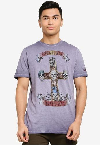 Brave Soul purple Large Chest Print Crew Neck T-Shirt 8FF81AADFB0750GS_1