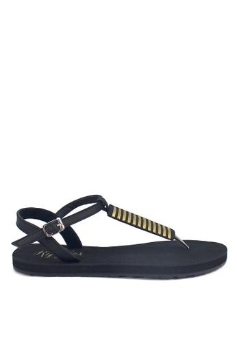Ripples black Clio Stripes Slide'N'Style T-Bar Sandals RI425SH13UYKSG_1