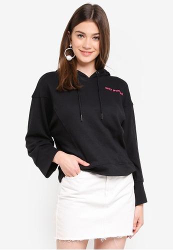 JACQUELINE DE YONG black Class Embroidery Hood Sweatshirt 0DEE3AAC105E17GS_1