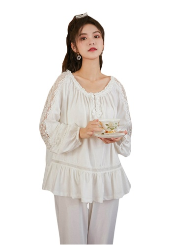 LYCKA white LML1318-Lady Casual Pajamas Two Pieces Set-White F8E54AACDCCE15GS_1