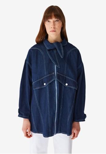 Trendyol blue Indigo Tie Collar Denim Jacket 5662DAA33C2208GS_1