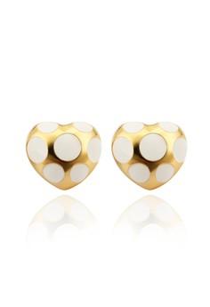 Lovie Gold Dotted Heart Earrings