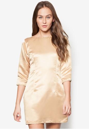 zalora 順豐亮面七分袖洋裝, 服飾, 派對洋裝