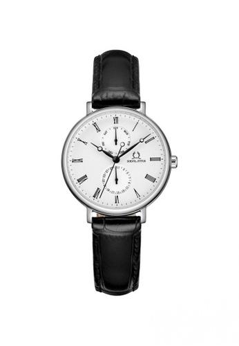 Solvil et Titus black Classicist Women's Multi-Function Quartz Watch in Silver White Dial and Black Leather Strap EFC9BAC327779FGS_1