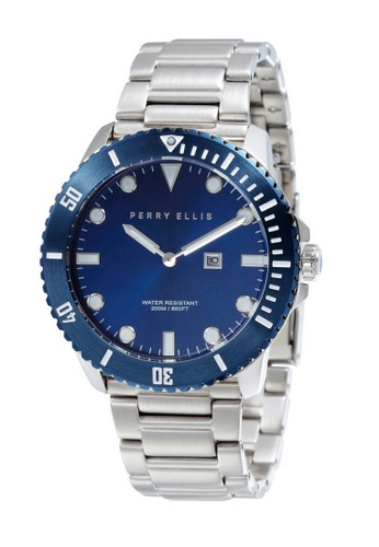 b65c0926ec115 Perry Ellis blue and silver Perry Ellis Deep Diver Men 46mm Quartz  Stainless Steel Watch 02006