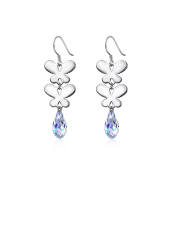Glamorousky multi 925 Sterling Silver Elegant Romantic Butterfly Earrings with Multicolor Austrian Element Crystal 3DEBAACBB32BC1GS_1