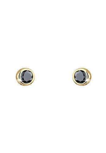 Elli Germany black Stud Swarovski® Crystals 925 Silver Gold-Plated Earrings EL474AC51GTGMY_1