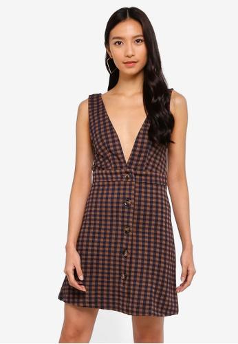 0fb6c1c9a7a3 Buy TOPSHOP Check Button Pinafore Dress | ZALORA HK