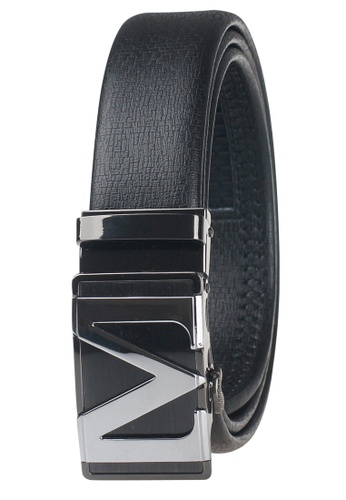 FANYU black Leather Dress Belt With Automatic Buckle FA549AC0GVYGSG_1