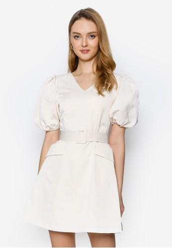 Saturday Club beige Puff Sleeved A-line Dress With Belt 60A22AAAEAB9ECGS_1