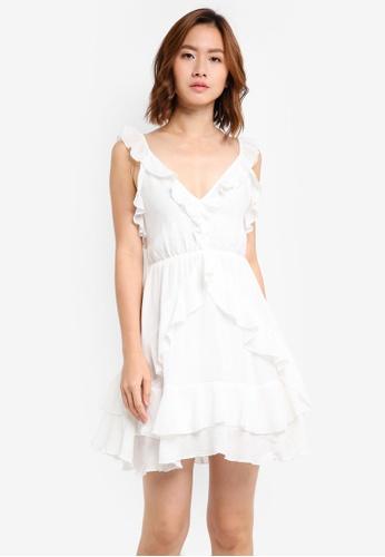 INDIKAH white Open Back Ruffle Mini Dress E1095AABCF23AFGS_1