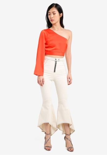 26f3147fa69b00 Buy TOPSHOP Petite Satin One Sleeve Top Online