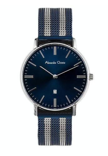 Alexandre Christie blue and silver Alexandre Christie Jam Tangan Pria - Blue Silver - Tali Pasir - 8582 MDBTUBU F4AC5ACD579AFBGS_1