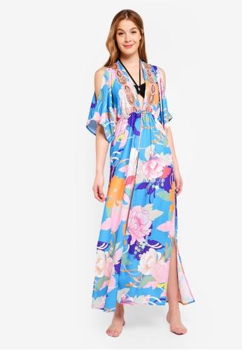 River Island blue Embellished Maxi Kimono Dress 08635AAD6ADF5EGS_1