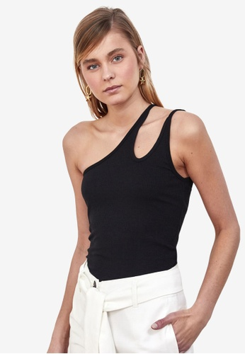 Trendyol black One Shoulder Cut Out Top 16789AA634CC19GS_1