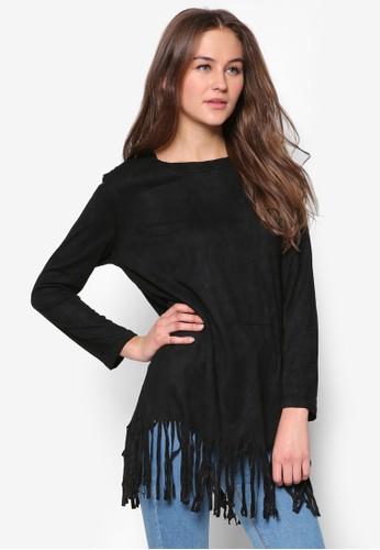 流蘇仿麂皮長袖衫, 服飾,zalora時尚購物網的koumi koumi 服飾