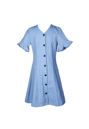 Mini Moley blue Brushed Cotton Girl's Button Down Dress 1E02DKACC30913GS_1