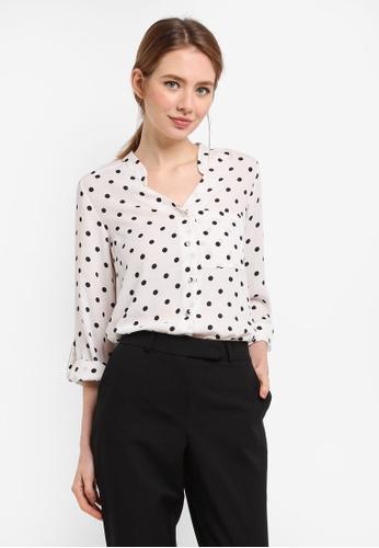 Dorothy Perkins white Cream Spot Roll Sleeve Shirt AC436AAC5CA60DGS_1