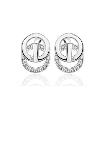 Glamorousky white Simple and Fashion Geometric Round Cubic Zircon Stud Earrings BD103AC3357719GS_1