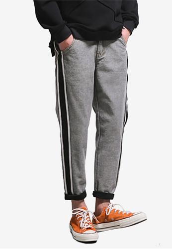 hk-ehunter grey Men Patchwork Denim Jeans ACC2BAA831BFA0GS_1