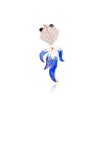 Glamorousky white Simple and Fashion Plated Gold Goldfish Brooch with Cubic Zirconia 9BC7EAC7F7C769GS_1