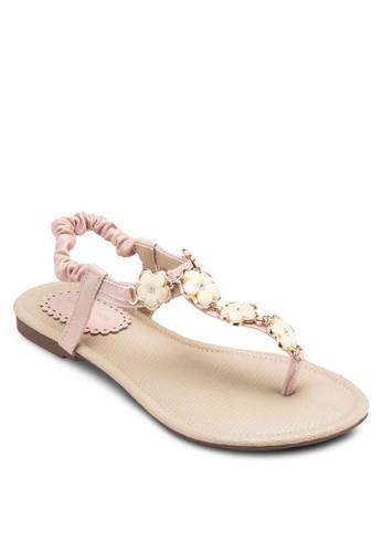 Edelweiesprit taiwanss 花飾彈性踝帶平底涼鞋, 女鞋, 鞋