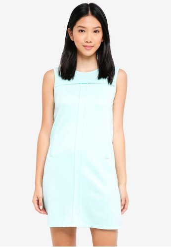 ZALORA BASICS green Pleat Detail Shift Dress 185A4AAD571E4AGS_1