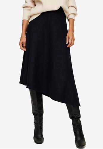 Mango blue Asymmetric Wool Skirt AC861AA756B1DDGS_1