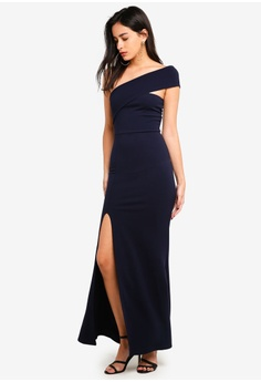 58fc068aad3 MISSGUIDED navy One Shoulder Maxi Dress 69687AAD4B6005GS 1