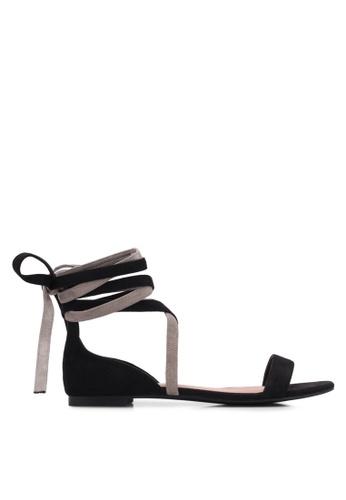 ZALORA black Contrast Lace- Up Sandals DCC02SHA17909DGS_1