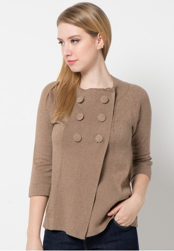 Noir Sur Blanc brown Ladies Cardigan 3/4 Sleeve With Button NO321AA28OSPID_1