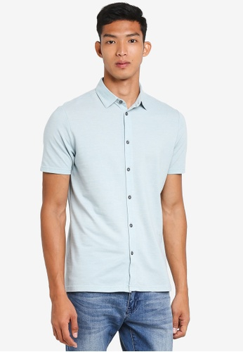 Burton Menswear London 綠色 Mint Two-Tone Short Sleeve Shirt 2A39DAA509381AGS_1