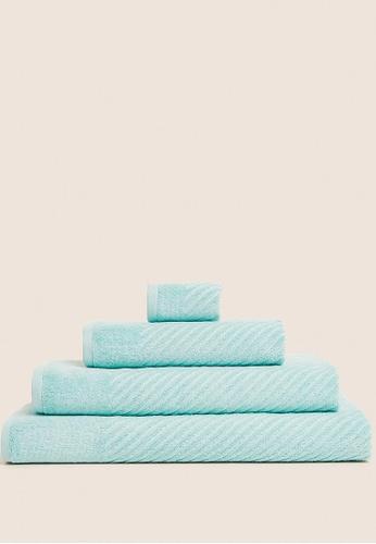 MARKS & SPENCER green M&S Cotton Rich Plush Quick Dry Bath Towel 0F964HLB31259EGS_1