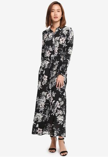 Wallis black Petite Black Floral Print Shirt Dress 0B1C2AA020D0EEGS_1