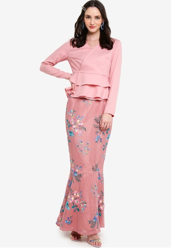 Lubna pink Double Layer Peplum Lace Trim Kurung A4332AA880F775GS_1
