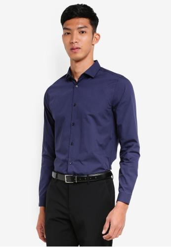 Burton Menswear London 海軍藍色 Navy Skinny Fit Easy Iron Shirt 55C88AA8020440GS_1