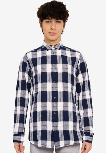 Only & Sons navy Seth Linen Check Shirt AA2FDAAD6667BDGS_1