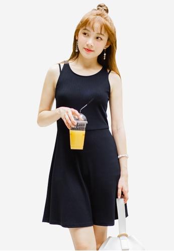 Sesura navy Simply Knit Fit & Flare Dress B099EAA833B398GS_1