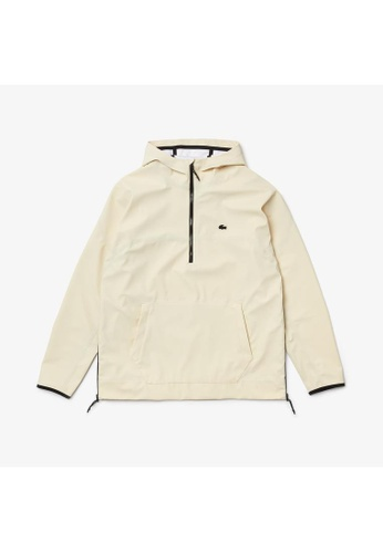 Lacoste white Men's Hooded Lightweight Hybrid Pullover Jacket AE902AAAC6D44CGS_1