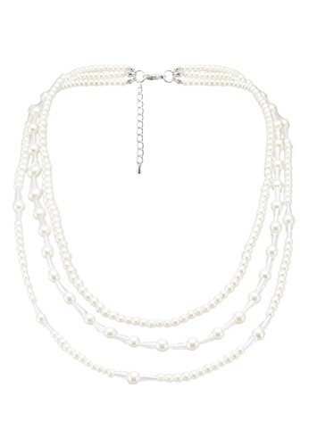 Dandelion silver Dina Three Layers Pearl Necklace 03DEAACC82A481GS_1