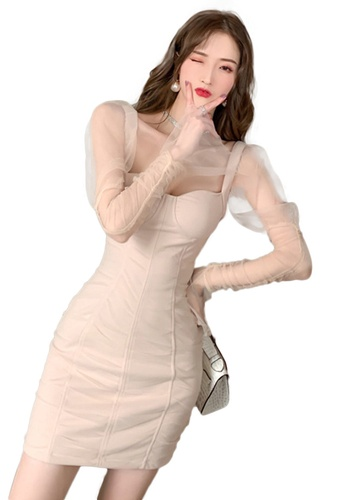 Sunnydaysweety pink Mesh Sexy Tube Top Wrap Hip One Piece Dress A21022229 20493AAA209DBBGS_1