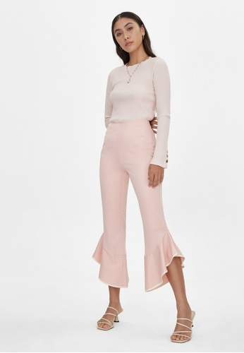 Pomelo pink Ruffle Flared Pants - Pink 59B79AADB52179GS_1