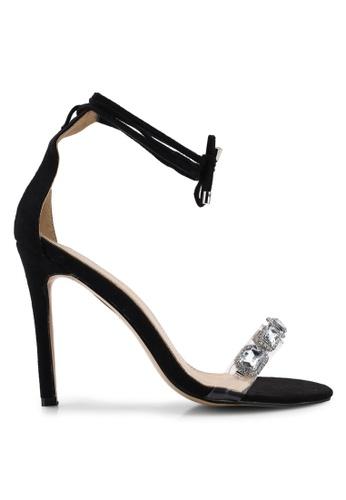 Public Desire 黑色 麂皮鑽飾繞帶高跟鞋 BDBF5SHF8B04D1GS_1
