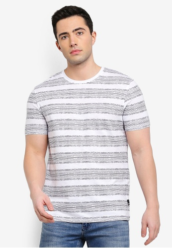 Burton Menswear London navy White And Navy Ikat Stripe T-Shirt A0D65AAB5390FFGS_1