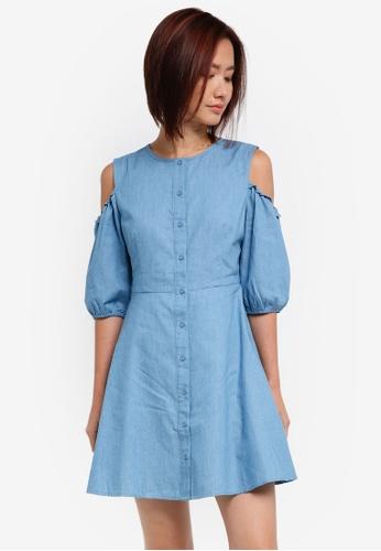 ZALORA blue Cold Shoulder Shirt Dress 90EDFAAE7E9470GS_1