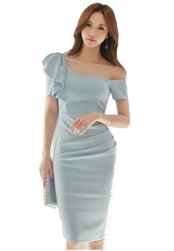 e33d36e704b Sunnydaysweety blue S S New Blue Short Sleeves Off-Shoulder One Piece Midi  Dress