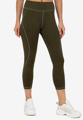 ZALORA ACTIVE green Contrast Stitch Curve Panel Leggings 7ED6BAA1DCB18DGS_1