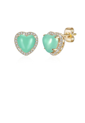 Glamorousky white Simple Plated Champagne Gold Green Heart Stud Earrings with Austrian Element Crystal A9D37AC5ACA1EBGS_1